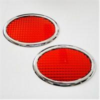 Dreamcar Reflektör Kırmızı Oval Krom Çerçeveli 2'li 8023001