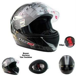 ls2 motosiklet kaskı ff351 evil twin gri siyah l beden