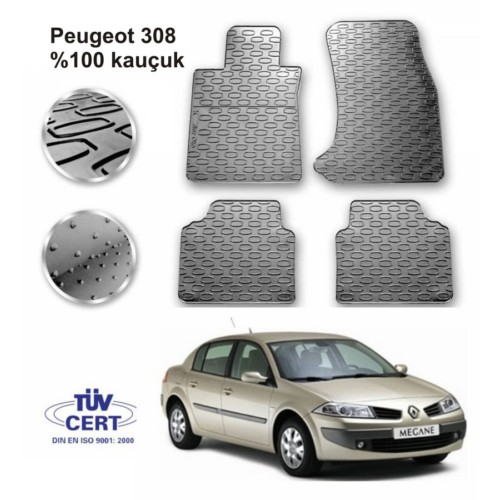 Renault Megane 2 Sedan Kauçuk Paspas 5Prç Gri