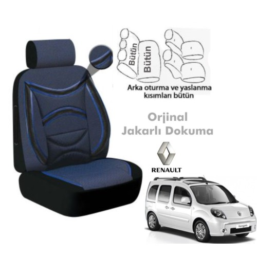 Süslenoto Renault Kangoo 2004-2009 Mavi Oto Koltuk Kılıfı Ortopedik