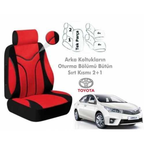 Süslenoto Toyota Corolla Sedan 2013 Ve Sonrası Kırmızı Oto Koltuk Kılıfı Ortopedik
