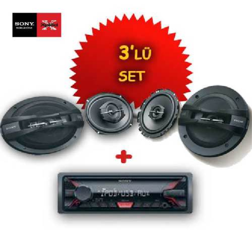 Sony DSX-A200 USB li Oto Teyp + XS-GT1738F 17cm Hoparlör ve XS-GTF6938 6x9 Oval Hoparlör Seti