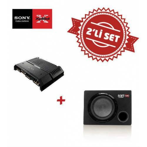 Sony XM-GS4 4 kanal Amfi ile XS-GSW121D Kabinli Çift bobin Subwoofer Set
