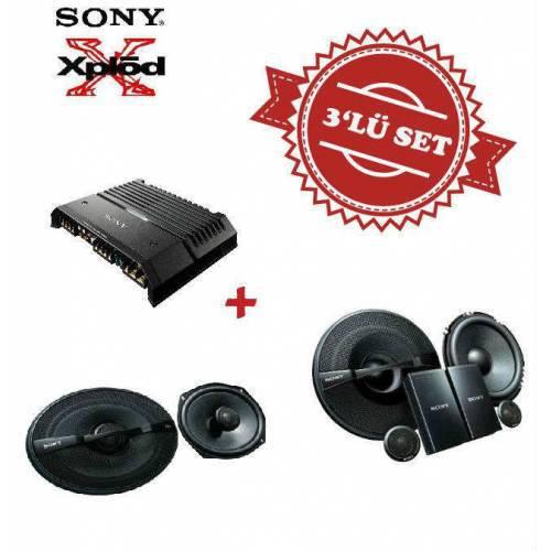 Sony XM-GS4 4 kanal Amfi ,XS-GS1621C Mid Takım ve XS-GS6921 6x9 Oval Hoparlör Set
