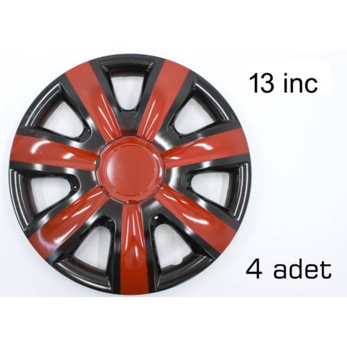 2S Racing 13 İnç Jant Kapağı Seti KIRMIZI+SİYAH 268803