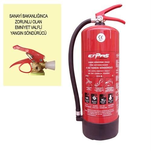 6 Kg ABC Tozlu Tse Ce Belgeli Yangın Söndürücü (4 Yıl Ürün ve Dolum Garanti Süresi)