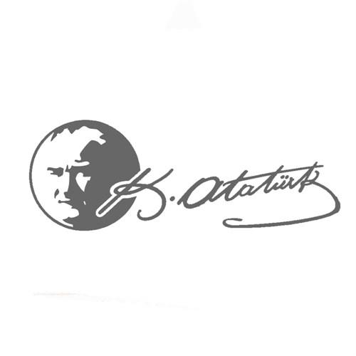 Z tech Atatürk Portre ve İmza Gri Sticker 19 x 7 cm
