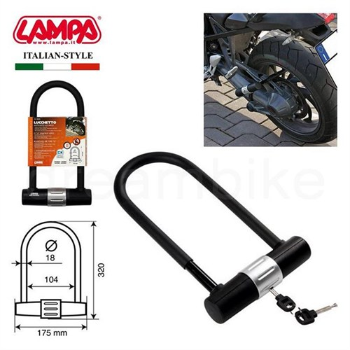 Lampa Lucchetto U Tipi Çelik Motosiklet Kilidi 18Mm 90609
