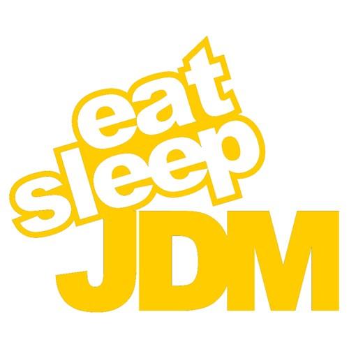 """Z tech """" Eat Sleep JDM """" Sarı Sticker 14x11cm"""