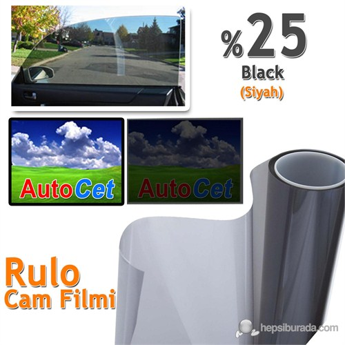 Autocet 75 cm 20 MT Renkli Rulo Cam Filmi Orta Siyah % 25 Dark Black (MADE IN KOREA)