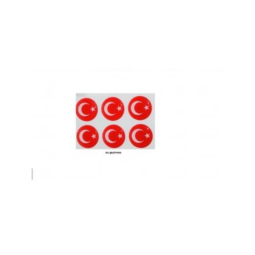 Schwer Su Geçirmez PVC Türk Bayrağı Sticker(6 lı)