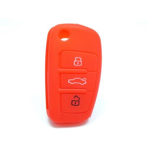Gsk Audi A4 Kumanda Kabı Koruyucu Kılıf 3 Tuş (Kırmızı)