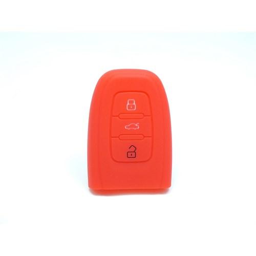 Gsk Audi A4 Smart Kumanda Kabı Koruyucu Kılıf 3 Tuş (Kırmızı)