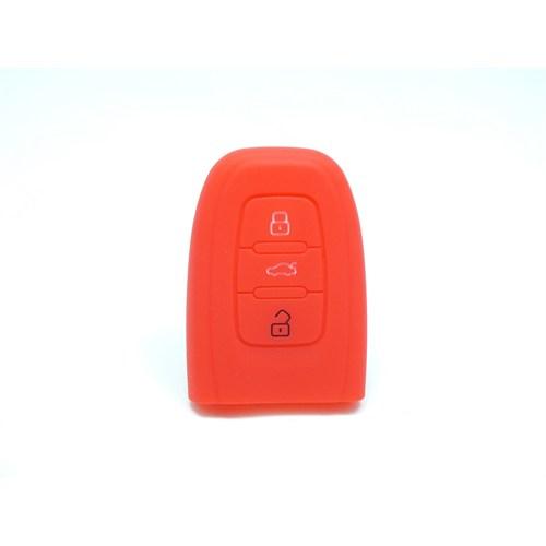 Gsk Audi A6 Smart Kumanda Kabı Koruyucu Kılıf 3 Tuş (Kırmızı)
