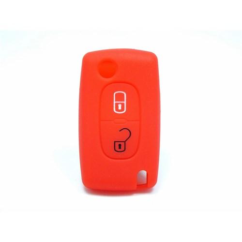 Gsk Citroen Kumanda Kabı Koruyucu Silikon Kılıf 2 Tuş Kırmızı