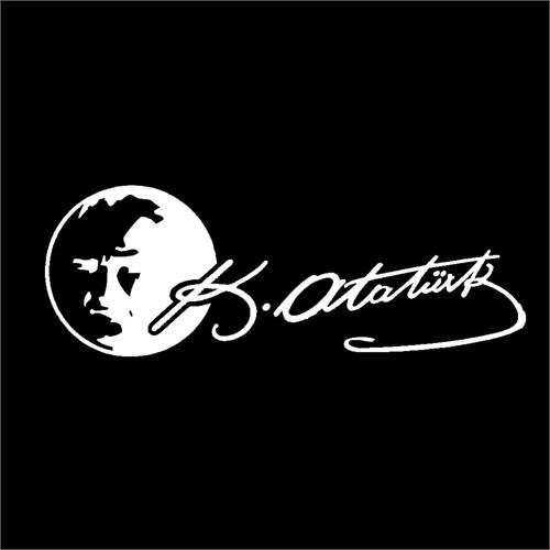 "Z tech""Atatürk Portre ve imza Beyaz Sticker 19 x 7 cm"