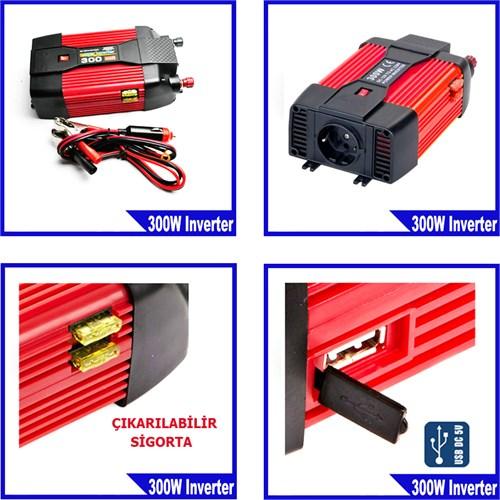 Syd 12 Volt - 220 Volt 300 Watt Lüx Power İnverter Usb