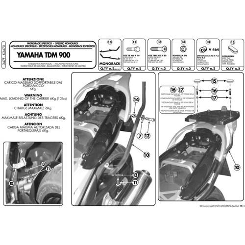 Kappa K3470 Yamaha Tdm 900 (02-14) Arka Çanta Tasıyıcı