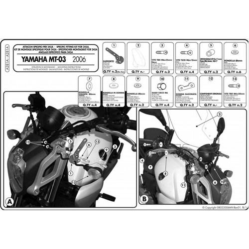Kappa A281a Yamaha Mt-03 (06-14) Rüzgar Sıperlık Baglantısı