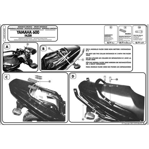 Gıvı 340F Yamaha Fzs 600 Fazer (98-03) Arka Çanta Tasıyıcı
