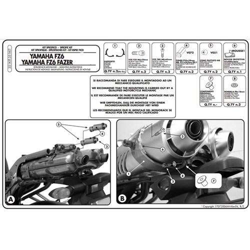Gıvı 351Kıt Yamaha Fz6 - Fz6 600 Fazer - Fz6 S2 - Fz6 600 Fazer S2 (04-11) Yan Çanta Tasıyıcı Baglan