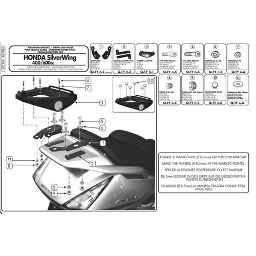 Gıvı Sr19m Honda Sılverwıng - Abs 400-600 (01-09) - Sw-T 400-600 (09-15) Arka Çanta Tasıyıcı