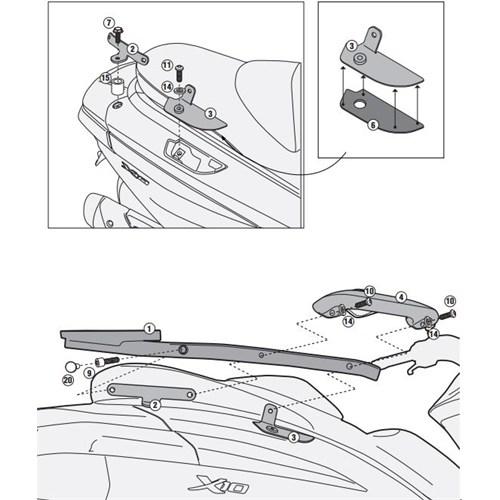 Gıvı Sr5604m Pıaggıo X10 125-350-500 (12-15) Arka Çanta Tasıyıcı