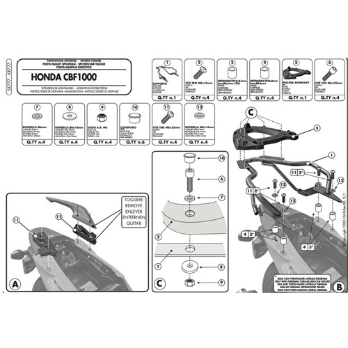 Gıvı Sr777 Honda Cbf 1000 - Cbf 1000St (10-14) Arka Çanta Tasıyıcı