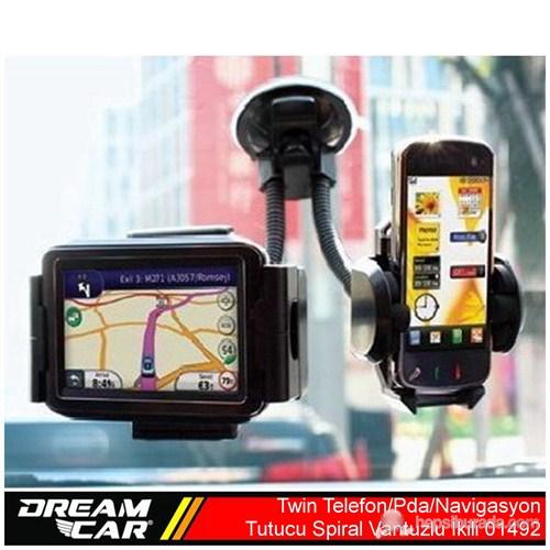 Dreamcar Twin İkili Pda/Telefon/NavigasyonTutucu Spral Vantuzlu 01492