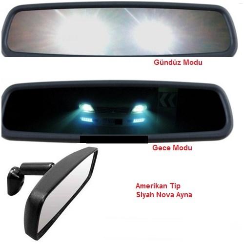 Schwer Amerikan Tip Nova Ayna Siyah Gece Gündüz Fonksiyonlu