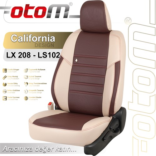Otom Bmw 3 Serisi F30 2012-Sonrası California Design Araca Özel Deri Koltuk Kılıfı Bordo-103
