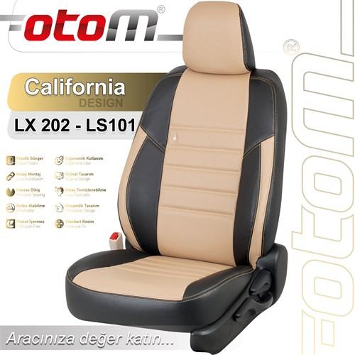 Otom Kıa Rıo Sedan 2012-Sonrası California Design Araca Özel Deri Koltuk Kılıfı Bej-101