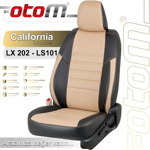 Otom Peugeot 208 2012-Sonrası California Design Araca Özel Deri Koltuk Kılıfı Bej-101
