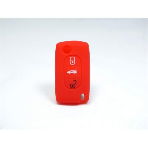 Gsk Peugeot Kumanda Kabı Koruyucu Silikon Kılıf 3 Tuş ( Kırmızı )