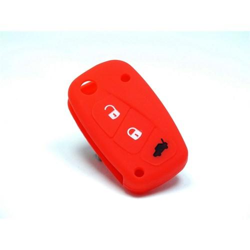 Gsk Fiat Fiorino Kumanda Kabı Koruyucu Silikon Kılıf 3 Tuş ( Kırmızı )