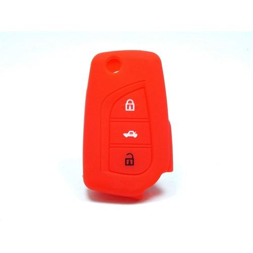 Toyota Auris Anahtar Kumanda Kabı Koruyucu Silikon Kılıf 3 Tuş ( Kırmızı )
