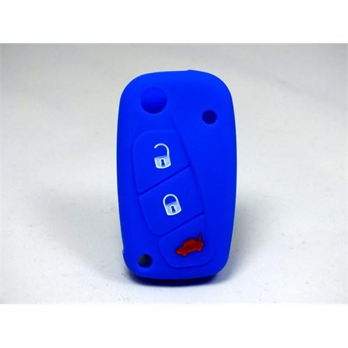 Gsk Fiat Linea Kumanda Kabı Koruyucu Silikon Kılıf 3 Tuş ( Mavi )