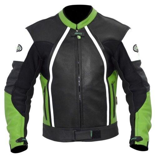 Prosev 8128 Deri Motosiklet Montu (Yeşil-Siyah)