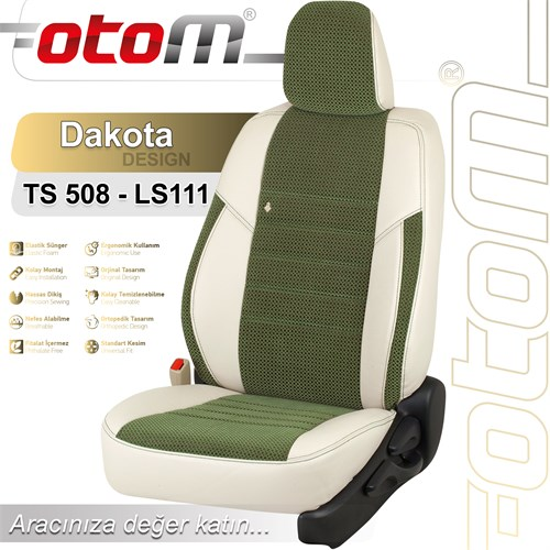 Otom Renault Clıo 4 Hb Sport 2013-Sonrası Dakota Design Araca Özel Deri Koltuk Kılıfı Yeşil-101