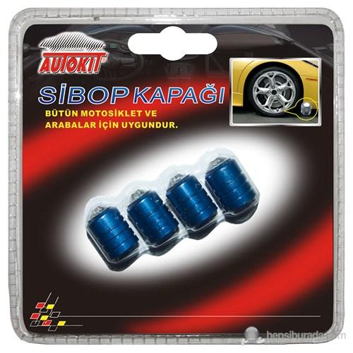 Autokit Sibop Kapağı 6'Lı Set Pırlantalı ( Mavi )