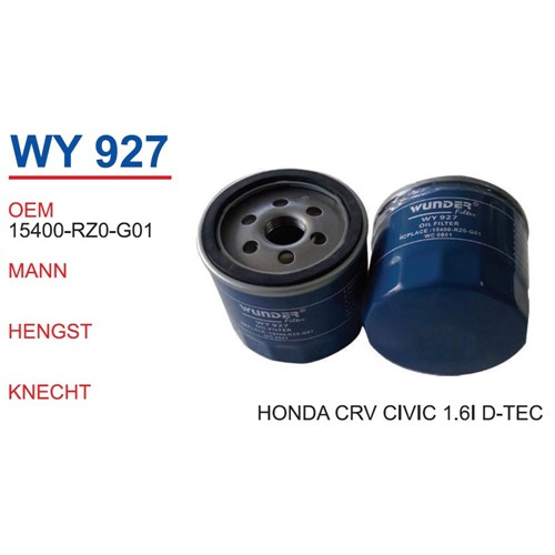 Wunder Honda Cr-V 1.6İ D-Tec Yağ Filtresi Oem No:15400-Rz0-G01