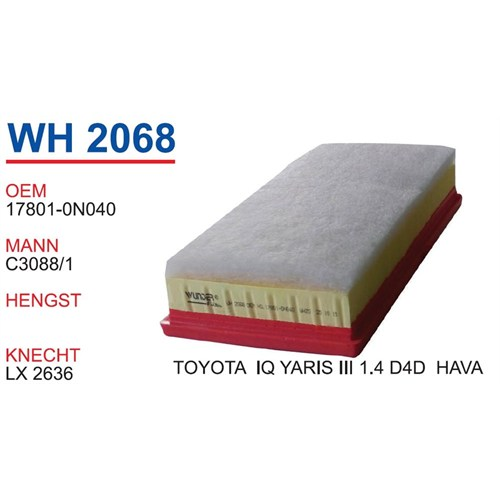 Wunder Toyota Yaris 3 Kasa 1.4 D 4D Hava Filtresi Oem No:17801-0N040