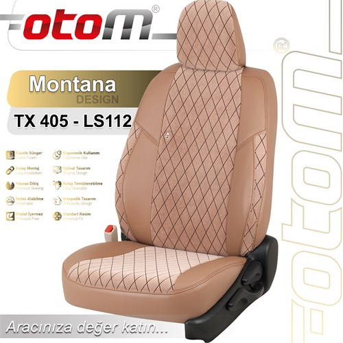 Otom Peugeot Partner Tepee Arka 2+1 2008-Sonrası Montana Design Araca Özel Deri Koltuk Kılıfı Sütlü Kahve-101