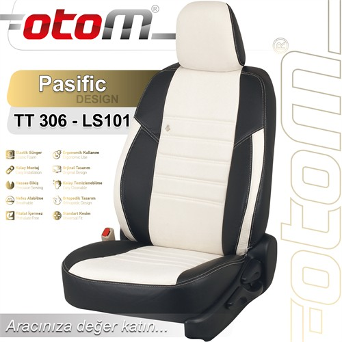 Otom Cıtroen C5 Sport 2008-Sonrası Pasific Design Araca Özel Deri Koltuk Kılıfı Kırık Beyaz-101