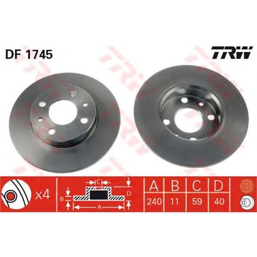 Trw Df1745 Ön Fren Aynası Tmpr 2.0-Tipo-Fıat 500 07>Punto 1.9Jtd 03>Panda 03>Alfa-33-145-146-155 (240.5X11x4dl)