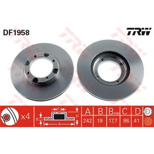 Trw Df1958 Ön Fren Aynası Accent 94>S-Coupe92>Pony (90-95)1.3-1.5-1.5İ (242X19x4dlxhavalı)
