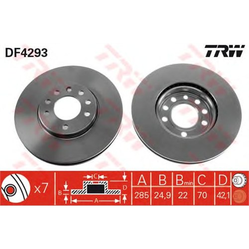 Trw Df4293 Ön Fren Aynası Vectra C Gts 1.6 2.016V 02>Sıgnum 03>Saab 9.3 02>Croma 05>(285X25x5dlxhavalı)