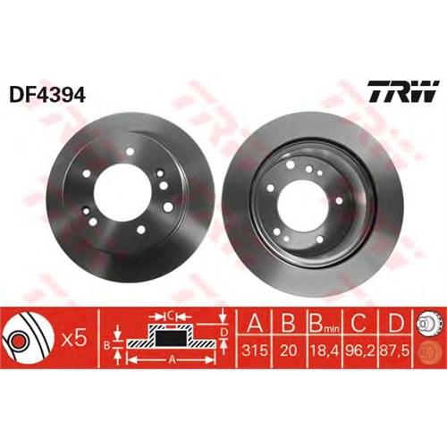 Trw Df4394 Arka Fren Aynası Kıa Sorento 2.4 İe 16V 02>2.5 V6 Crdı 02>3.5 V6 24V 02> (315X20x5d) (Havalı)