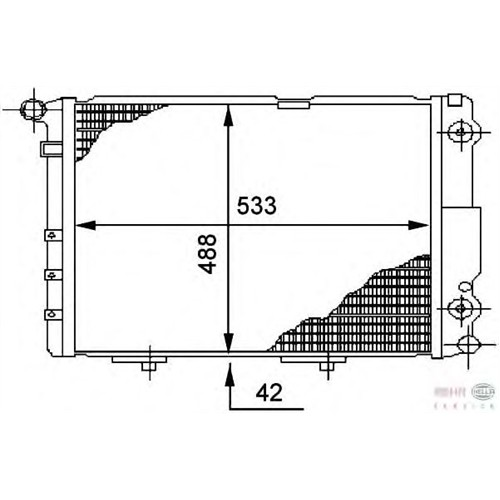 Bsg 60520015 Radyatör 532X488x32 - Marka: Ml - W124 - Yıl: 85-95 - Motor: Om601-602-603