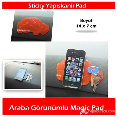 AutoCet Araba Şeklinde Yapışkanlı Magic Pad Kırmızı